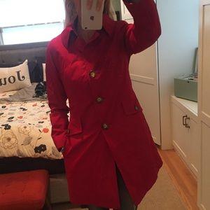 Michael Kors red trench coat, size medium